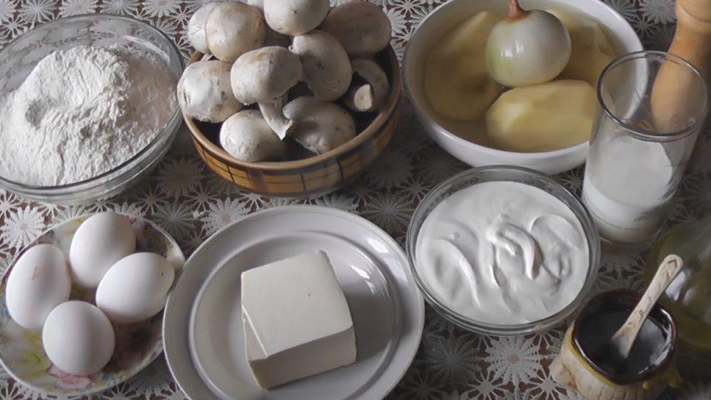 картофель с грибами пирог